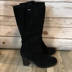 Merona Faux Suede Black Heeled Booties Tall NEW